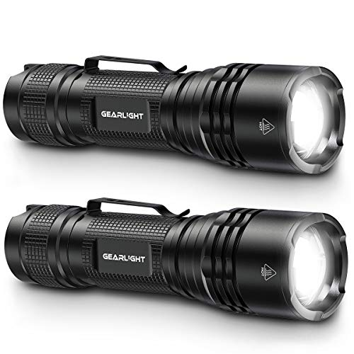 GearLight TAC LED Tactical Flashlight [2 PACK] - Single Mode, High Lumen, Zoomable, Water Resistant, Flash Light - Camping Accessories, Emergency Gear, Flashlights with Clip