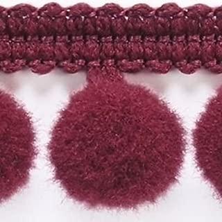 HomeBuy 1M Pom Pom Bobble Trim Fringe - Medium Size 10Mm 20 Colours (Per Metre) Burgundy B
