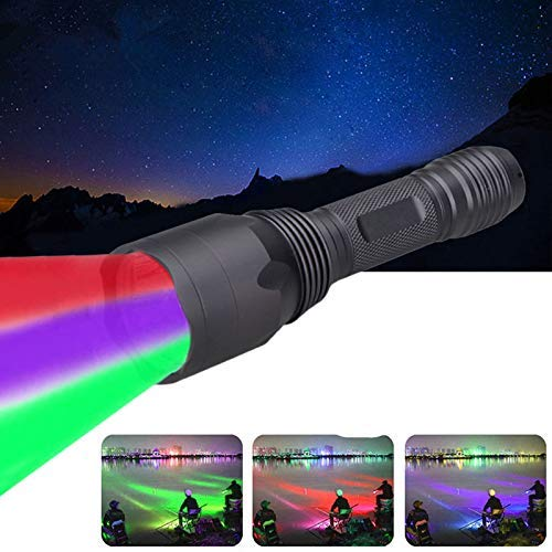 Green Red UV Light 3 LED Hunting Flashlight Deer Blood Tracker Light Red Night Vision Green Hunting Lights Black Light Tactical 3 Colors in 1 Flashlights for Hog, Predator, Coyotes Night Hunting