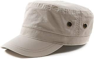 Jeff & Aimy Mens Cotton Military Cadet Army Cap Flat Top Baseball Sun Hat Adjustable