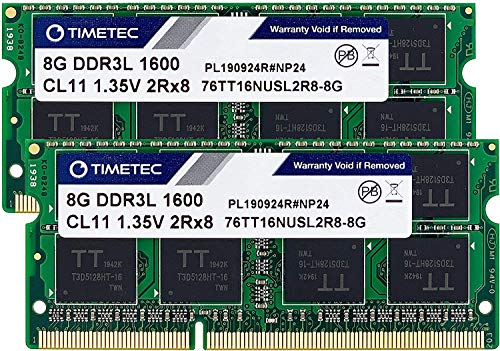 Timetec Hynix IC DDR3L 1600MHz PC3-12800 Unbuffered Non-ECC 1.35V CL11 2Rx8 Dual Rank 204 Pin SODIMM Laptop/Notizbuch Arbeitsspeicher Module Upgrade (16GB Kit (2x8GB))