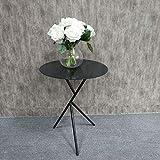 Mesa de centro pequeña, simple, moderna, creativa, mesa de centro de hierro forjado, sala de estar, sofá, lado, unos pocos, mesa redonda pequeña dorada, mesa auxiliar pequeña en blanco y negro, 38x58c