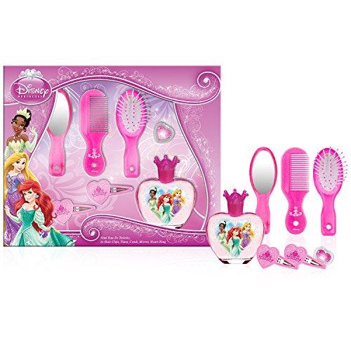 Disney Princess Duft und Haar Set - Eau de Toilette 50 ml, Haarspange, Spiegel, Kamm, Bürste, Herzförmiger Ring, 1er Pack (1 x 0.277 kg)