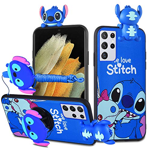 HikerClub Galaxy S21 Ultra 5G Case Stitch Cute 3D Cartoon Doll Soft TPU Silicon Case with Pop Out Stand and Lanyard for Women Girls Kids (Stitch, S21 Ultra 5G)