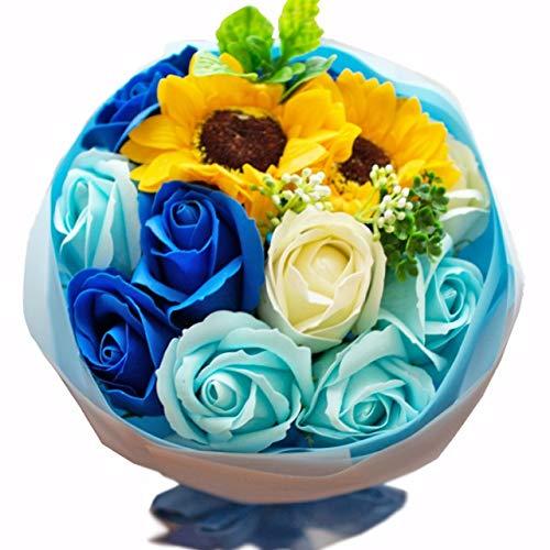 フレグランス ソープフラワー シャボンフラワー 夏にぴったり ひまわり&ローズ 花束 ブーケ FPP-808 (ブルー)