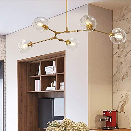Dellemade Sputnik - Lampadario a sospensione Globus, 5 luci, per sala da pranzo, soggiorno, cucina, ufficio, caffetteria, ristorante, lampadine a LED incluse