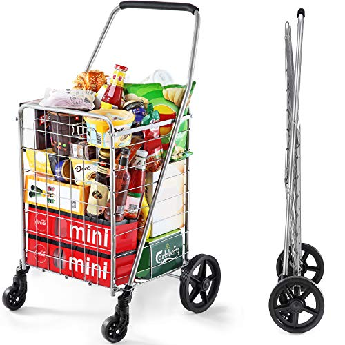 Wellmax WM99024S Grocery Utility Shopping Cart, Easily Collapsible and Portable to Save Space and...
