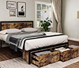 DICTAC Queen Bed Frame with Storage Industrial Platform Bed Frame with Drawers Iron Bed Frame with headboard,Metal Steel slats Support No Box Spring Needed Easy to Assemble,Rustic