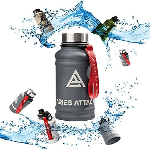 ARIES ATTACK 1.3L Trinkflasche Edelstahl -Water Jug für Fitness, CrossFit, Gym & Outdoor- Extra Trinkverschluss - BPA Frei - Stabil und Auslaufsicher - Kohlensäure Geeignet
