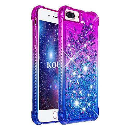 KOUYI Cover iPhone 8 Plus/7 Plus [Serie di Sabbie Mobili] Moda Bling Liquido Sparkly Glitter Fluttuante Quicksand Protettivo Slim Custodia per Apple iPhone 8 Plus/7 Plus 5,5'(Viola Blu)