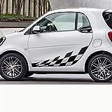 Rtyuiop Autocollants de Film de Vinyle de Treillis latéral de Porte de Voiture, pour Mercedes Benz Smart Fortwo W453 W451 Accessoires de décalque de décor de carrosserie Automatique de Course