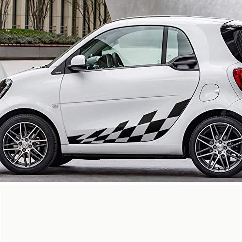 Rtyuiop Adesivi per Pellicola in Vinile a Reticolo Laterale per Porta Auto, per Mercedes Benz Smart Fortwo W453 W451 Accessori per Decalcomanie per Decorazioni per carrozzeria Auto da Corsa