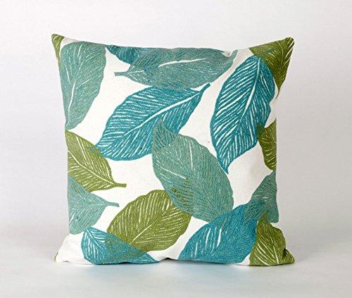 Trans Ocean Mystic Leaf Aqua Print 20in.X20in. Decorative Throw Pillow