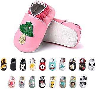 Primeros Pasos Bebe Niña Niños Zapatos Zapatillas de Estar por Casa Pantuflas Calzado Botitas y Patucos Infantiles Piel Sintético Casual Antideslizante-2 MG 6-12 Meses