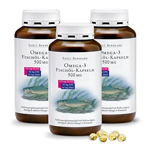 Sanct Bernhard Omega-3 Fischöl-Kapseln 500 mg, Inhalt 1200 Stück (3er-Bundle)