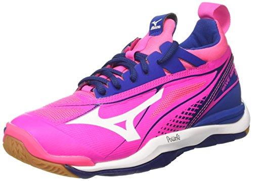 Mizuno Damen Wave Mirage W Gymnastikschuhe, Rosa (Pink Glo/White/True Blue), 40,5 EU