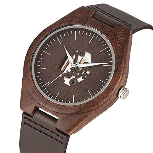 RWJFH Reloj de Madera Reloj de Pulsera de Cuero de Cuarzo con Esfera marrón café Hueco único para Hombre, Reloj de Pulsera de Madera de Nogal Natural, Reloj de Madera Masculino