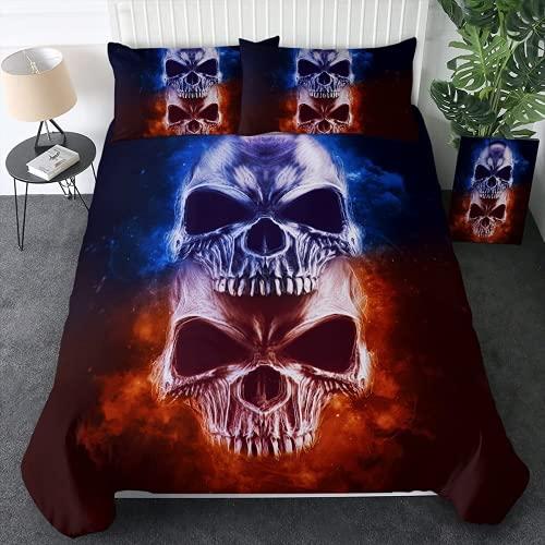 KMTSYD Blue Skull Fire - Set di biancheria da letto con motivo teschio, adatto per tutte le stagioni (2,220 x 240 cm + 80 x 80 cm x 2)
