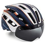EASTINEAR Casco MTB Hombre Casco Bicicleta Ligero para Adulto con Visera Magnética Usuarios de Gafas Luz Trasera LED Amigable para Protección 57-61CM (Plata Azul)