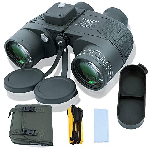 10X50 Prismáticos Marinos para Adultos Impermeable con Brújula Brújula BAK4 a Prueba de Niebla Prism Lens Binoculares Militar para Navegación Navegación Observación de Aves y Caza (G) (LP0002G