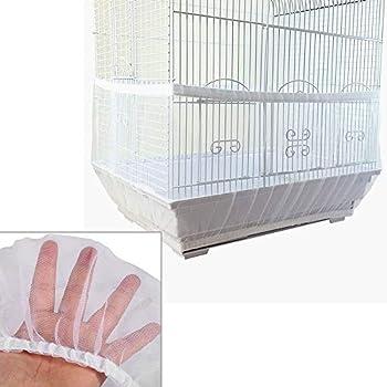 Samantha Housse pour Cage Oiseaux Maille, Couverture à Cage d'oiseaux L, Attrape-Graines de Cage à Perroquet, Aération Anti-Poussière, pour Oiseaux Perroquet (Blanc)
