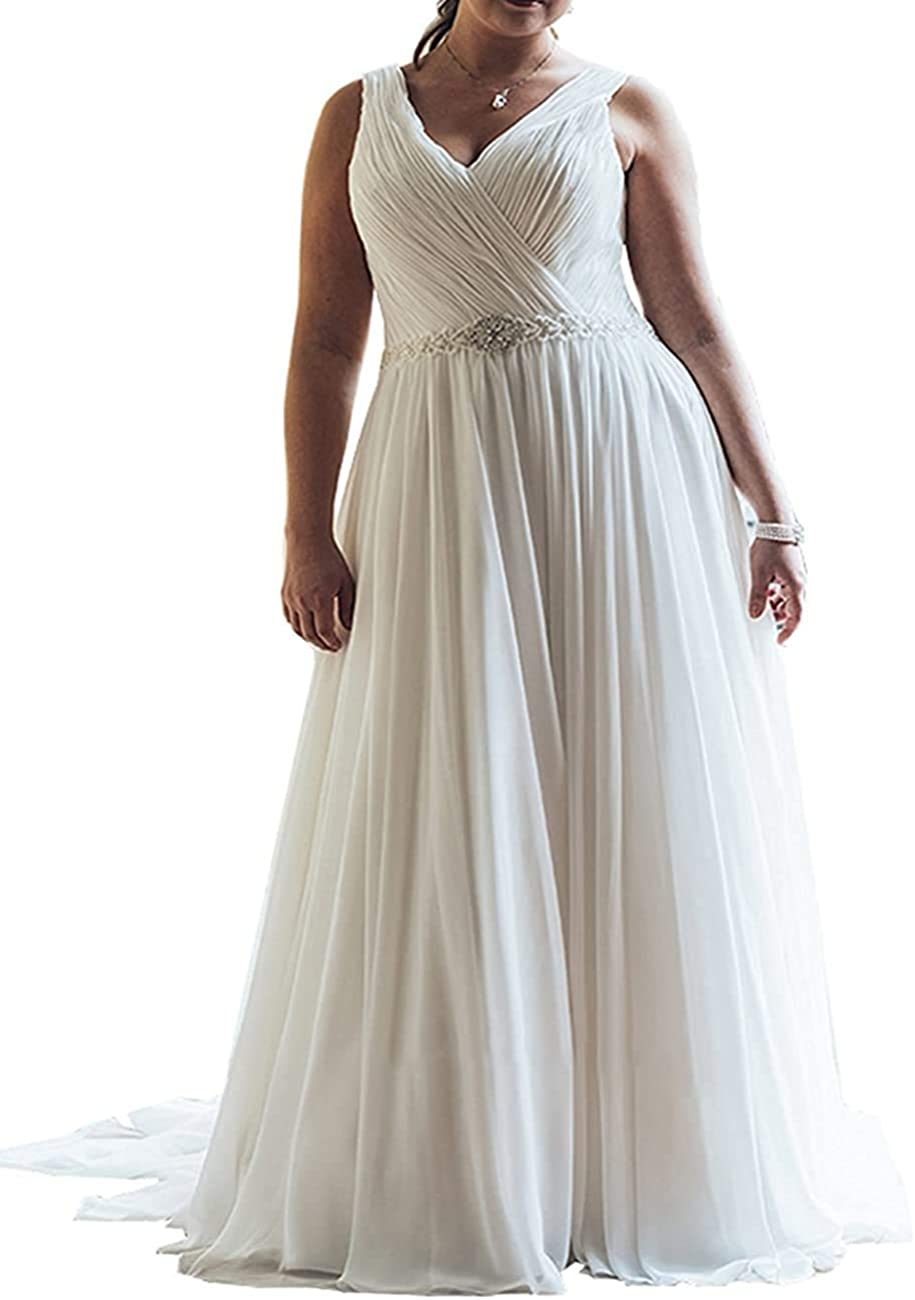 Meganbridal Women's V Neck Chiffon Bridal A Line Ball Gown Wedding Dress for Bride with Train Pleated Plus Size