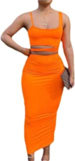 Women Bodycon Two Piece Pencil Maxi Dress Clubwear Outfit