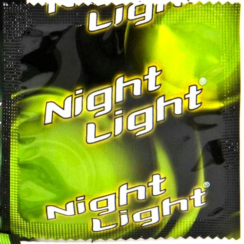 "NIGHT LIGHT BRAND CONDOMS ""GLOW IN THE DARK WHILE YOU GROW IN THE DARK"" - Practice Safe Sex - Brought To You By Oakland Gardens (40 - 40 Condoms)"