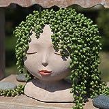 Halaood Maceta de cabeza femenina para plantas con agujero de drenaje, bonita maceta de cactus para decoración interior y exterior, maceta de resina retro blanca para suculentas
