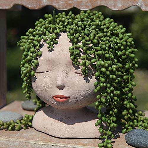 Halaood Female Head Plant Pot Flower Pot with Drainage Hole, Cactus Planter Indoor and Outdoor