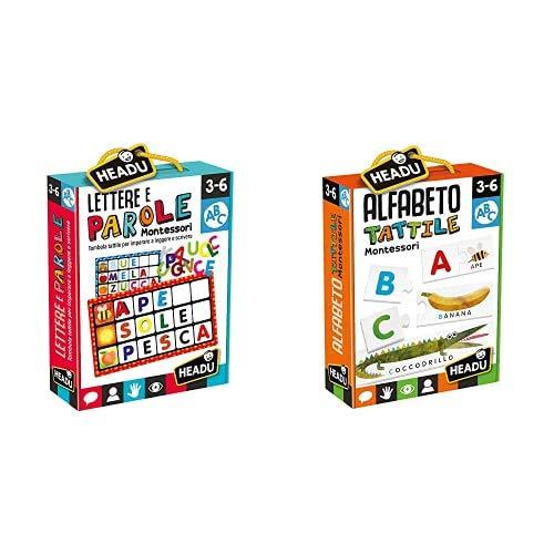Headu Lettere E Parole Montessori Gioco, Multicolore, It20522 & Montessori Alfabeto Tattile, Multicolore, It20164