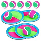 MENOLY Toss and Catch Ball Set for Kids, Paddle Ball Games Set, Paddle Catch Ball and Toss Game with 4 Paddles 8 Balls for Outdoor Games, Beach, Yard