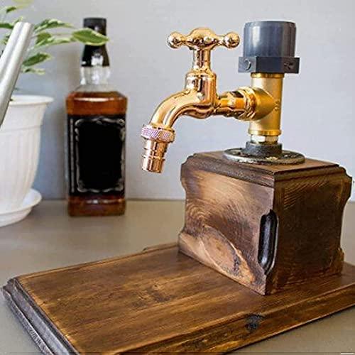 XW Dispensador De Madera para Whisky, Día del Padre, Dispensador De Madera con Forma De Grifo De Alcohol Y Licor para Bares Y Estaciones De Bebidas,Single Outlet