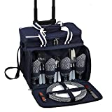 Picnic at Ascot Original Insulated Picnic Cooler with Service for 4 on Wheels-Designed