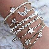 Jovono Hollow Hoop brazalete abierto extremo ancho brazalete con diamantes de imitación para mujeres y niñas (4 piezas)