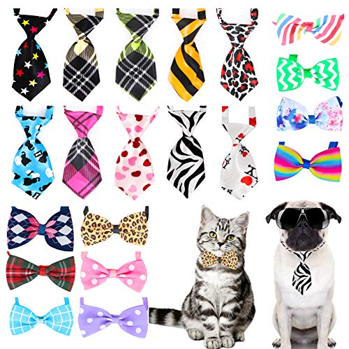20 Stücke Haustier Fliege Einstellbare Haustier Krawatte Kostüm Formale Hundehalsband für Kleine Hunde und Katzen Hündchen Pflege Krawatten Party Zubehör