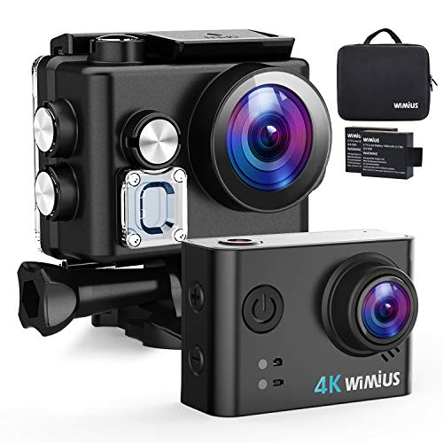 """WiMiUS Action Camera 4K HD Sports Camcorder 40M Underwater Cameras WiFi Waterproof Cam 170° Wide Angle Sony Sensor 2"""" LCD Screen 2 Rechargeable Batteries and Accessories Kits, L2, Black"""