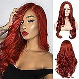 Peluca roja naranja para mujer, pelucas de pelo ondulado largo y rizado, peluca sintética de Cosplay, peluca completa, fiesta de disfraces de Halloween