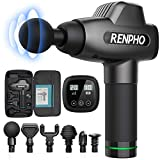 Massage Gun, RENPHO C3 Deep Tissue Muscle Massager, Powerful Percussion Massager Handheld with Portable Case for Home Gym Workouts Equipment, Back Neck Shoulder Soreness Stiffness Knots Tension Relief (Health and Beauty)