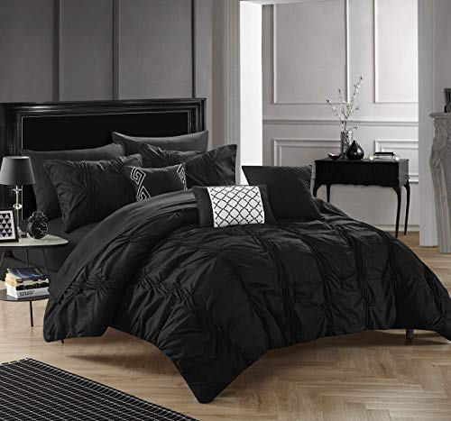 Chic Home 10 Piece Tori Pinch Pleated Bed in A Bag Comforter Sheets Set and Decorative Pillows, King, Black