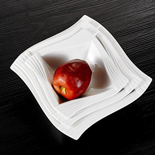 MALACASA, Serie Amparo, 3 TLG. Set Porzellan 9,25/8 / 6,75 Zoll Schüsseln Set Müslischale Suppenschale Dessertschüssel