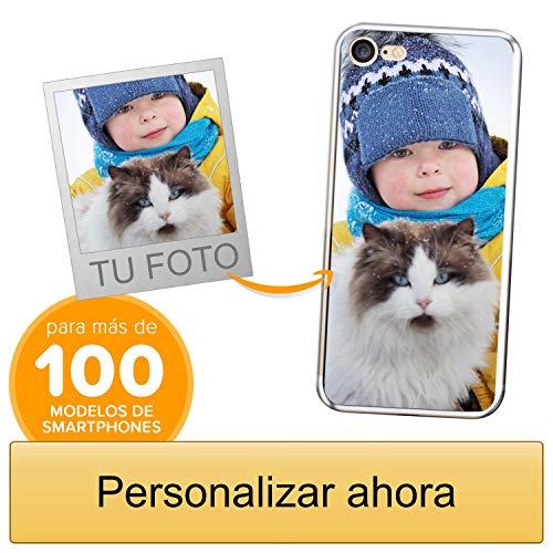 Funda Personalizada para Apple iPhone 7/8 con tu Foto, Imagen o Escritura - Estuche Suave de Gel TPU Transparente - Impresión