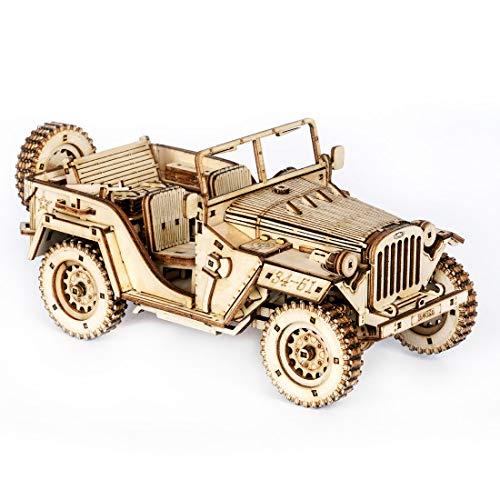 Mecotecn Puzzle 3D Madera Kit, Puzzle Cortado con Láser Juego de Construcción Mecánica - Regalo Creativo para Niños y Adultos (Battlefield Jeep)