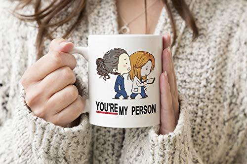 Greys Anatomy You Are My Person Anime Blanco Taza regular Taza 330 ml de té de café