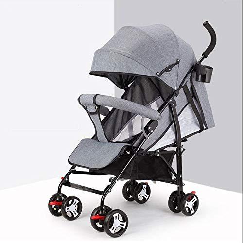 XXJF puede sentarse y acostarse ultraligero y conveniente plegable simple paraguas de bebé apariencia simple una mano y una mano gris rosa verde tres colores simple diseño aerodinámico cochecito de bebé al aire libre Play Sh, gris, Fully lying