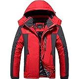 TACVASEN ウィンドブレーカー 防寒 メンズ 防寒着 静電気軽減 スキーウェア 冬用 登山ジャケット 撥水 バイク用 赤い XL