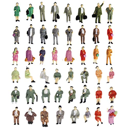1:87 HO Scale People Figures 50PCS   Gdaya Hand Painted Seated and Standing Miniature People Figures Passengers   Model Train Figures Tiny People for Miniature Scenes
