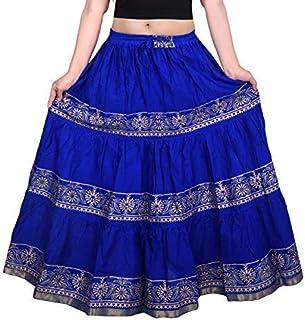 Krystle Women's Jaipuri Blue Print Self Design Flared Long Skirt
