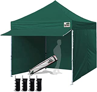 Eurmax 10 x 10 Pop up Canopy Commercial Tent Outdoor Party Canopies with 4 Removable Zippered Sidewalls and Roller Bag Bonus 4 Canopy Sand Bags & 24 Squre Ft Extended Awning(Forest Green)