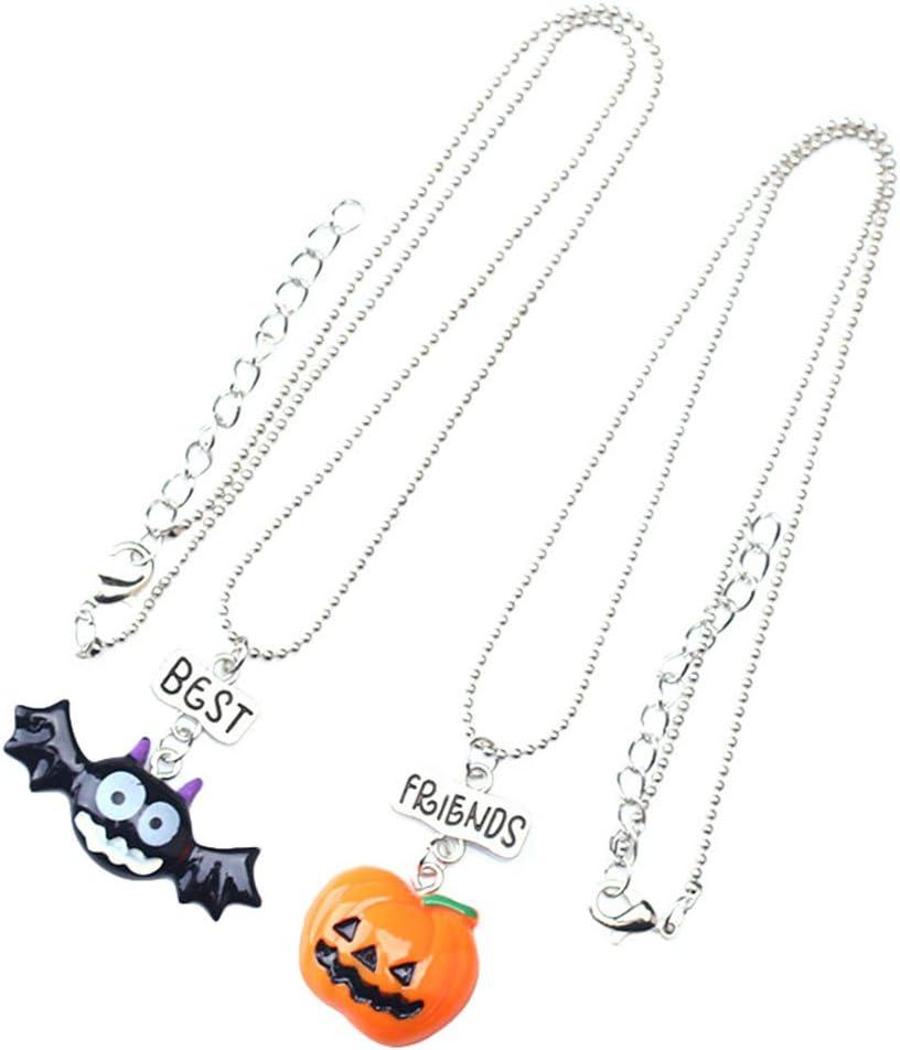 DOITOOL Halloween Pumpkin Shape Pendant Necklace Cartoon Bat Necklace for Children